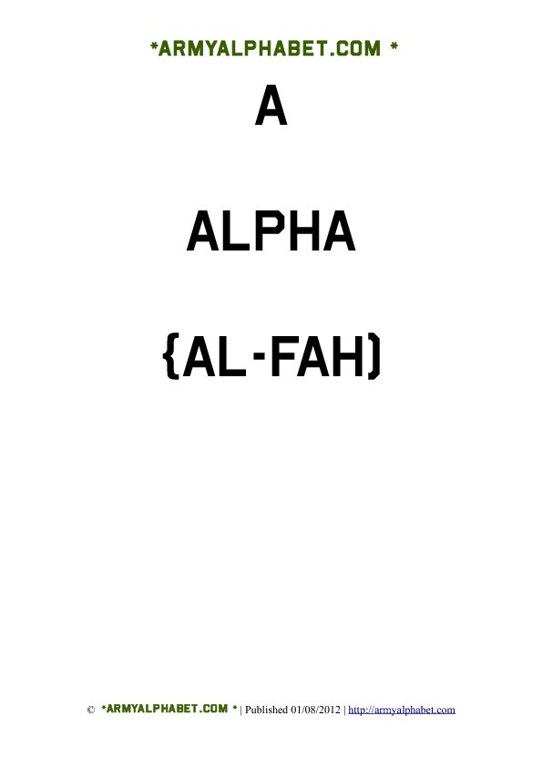 Army Alphabet Flashcards a alpha