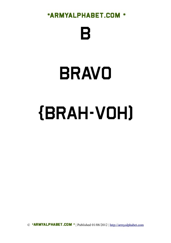 Army Alphabet Flashcards b bravo