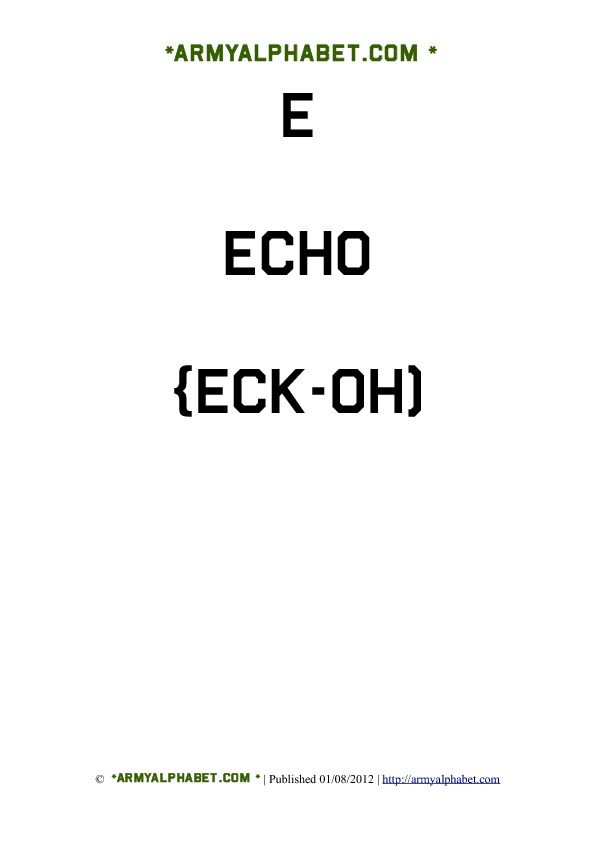 Army Alphabet Flashcards e echo