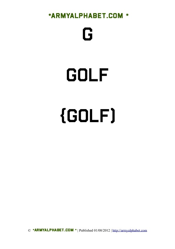 Army Alphabet Flashcards g golf