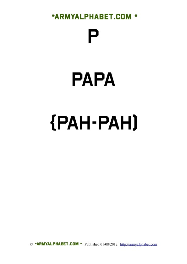Army Alphabet Flashcards p papa