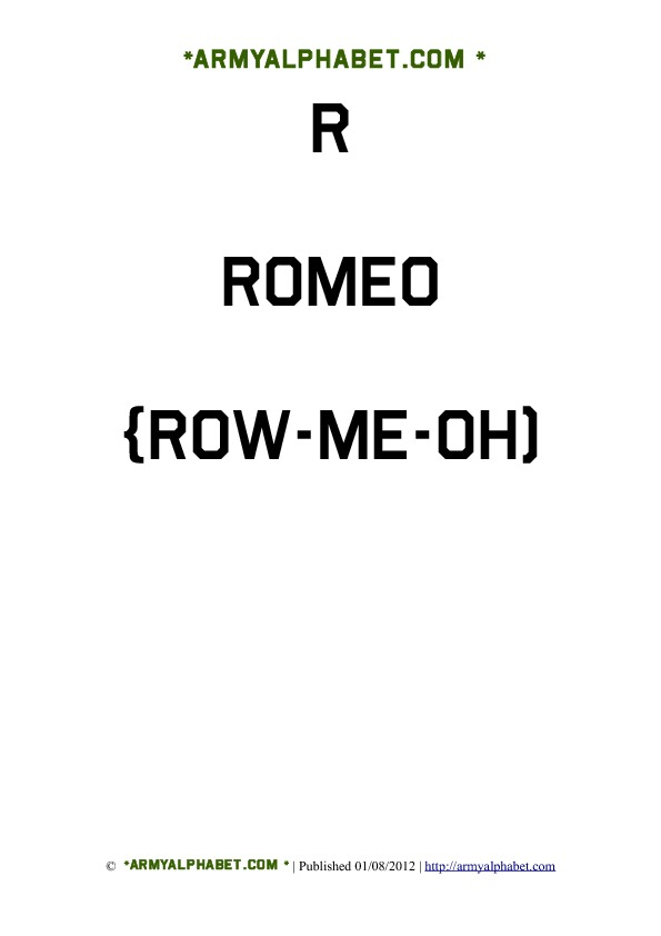 Army Alphabet Flashcards r romeo