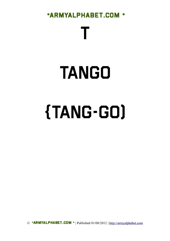 Army Alphabet Flashcards t tango