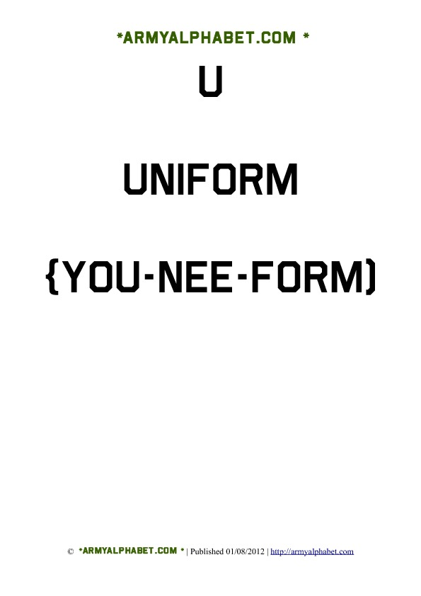 Army Alphabet Flashcards u uniform