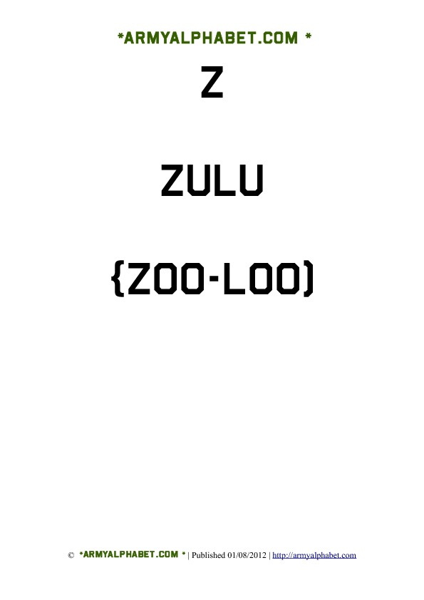 Army Alphabet Flashcards z zulu